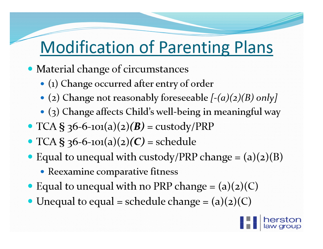 Change Of Child Custody Reversed In Nashville Tn Parenting Plan
